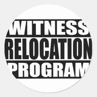 programa de la relocalización del testigo pegatina redonda