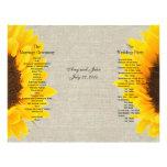 Programa de lino del boda del país del girasol de  flyer personalizado