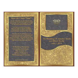 """Programa de lujo del boda del oro del chocolate folleto 8.5"""" x 11"""""""