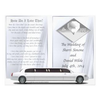 "Programa de lujo del boda (diseño del BI-doblez) Folleto 8.5"" X 11"""