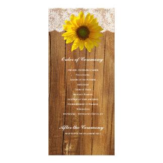 Programa de madera del boda del cordón del girasol tarjetas publicitarias personalizadas
