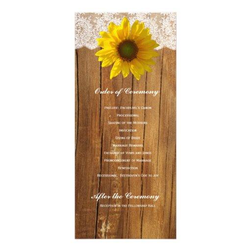 Programa de madera del boda del cordón del girasol tarjetas publicitarias a todo color