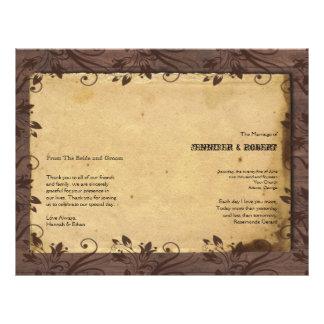 Programa de madera del boda del granero rústico tarjetas publicitarias