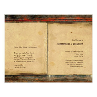Programa de madera del boda del granero rústico flyer a todo color