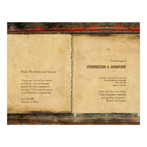 """Programa de madera del boda del granero rústico folleto 8.5"""" x 11"""""""