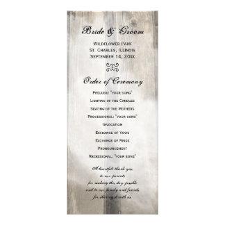 Programa de madera del boda del país del granero tarjetas publicitarias a todo color
