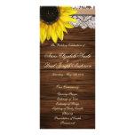Programa de madera del girasol y del boda del gran