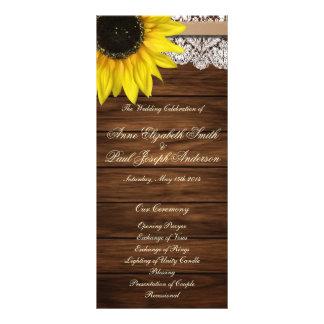 Programa de madera del girasol y del boda del gran tarjeta publicitaria