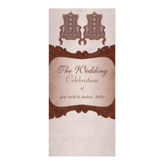 Programa de madera rústico del boda del vintage lona publicitaria