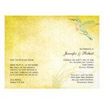 Programa de oro del boda de la acuarela del colibr flyer a todo color