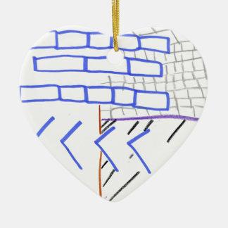 Programa de papel adorno navideño de cerámica en forma de corazón