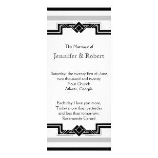 Programa de plata blanco negro del boda del marco  lonas