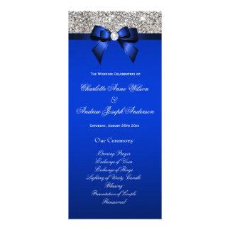 Programa de plata del boda del arco del azul real plantillas de lonas