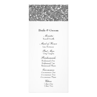 Programa de plata elegante del boda de la mirada d lona publicitaria