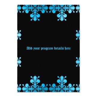 Programa decolorado punk gótico del negro azul del invitación 12,7 x 17,8 cm