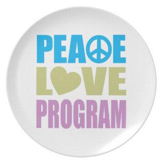 Programa del amor de la paz platos para fiestas