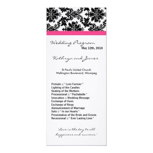 """programa del boda 4x9 - damasco negro y rosas invitación 4"""" x 9.25"""""""