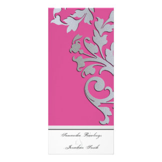 Programa del boda - chispa rosada y de plata fucsi diseño de tarjeta publicitaria