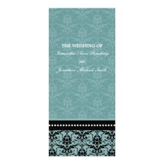 Programa del boda - damasco elegante de la turques tarjetas publicitarias