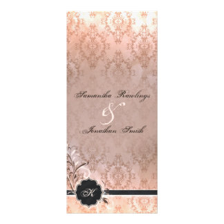 Programa del boda - damasco elegante del monograma tarjetas publicitarias personalizadas