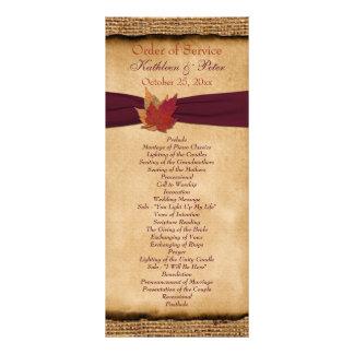 Programa del boda de la arpillera de las hojas de lona