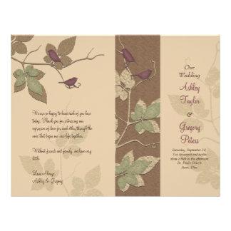 Programa del boda de la caída de los pájaros y de  flyer personalizado