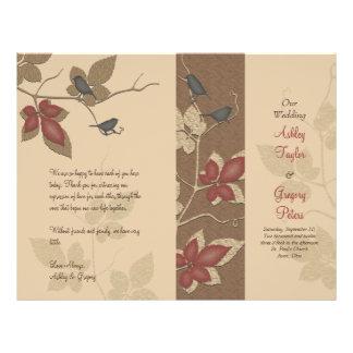 Programa del boda de la caída de los pájaros y de