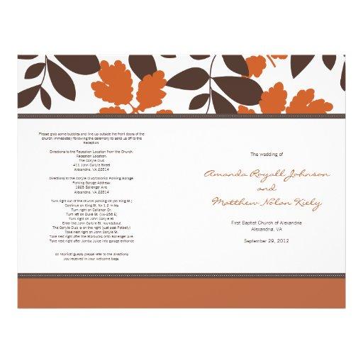 Programa del boda de la caída del naranja y de Bro Tarjetón