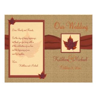 Programa del boda de la hoja del otoño flyer personalizado