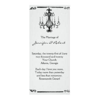 Programa del boda de la lámpara del vintage lona