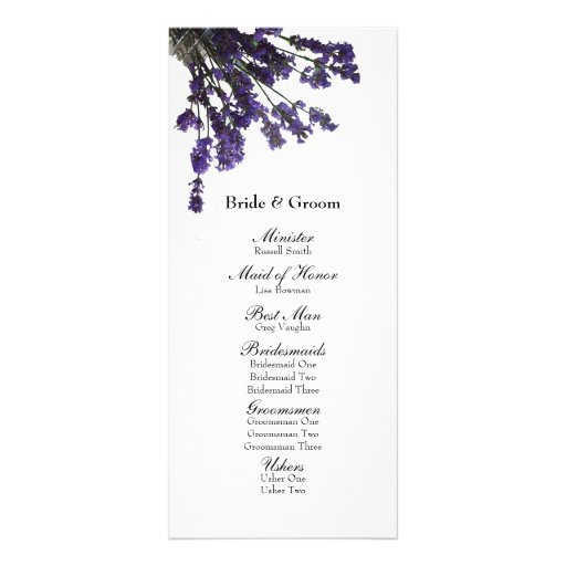 Programa del boda de la lavanda del tarro de albañ lona