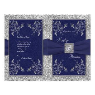 Programa del boda de la marina de guerra y del est tarjetas publicitarias