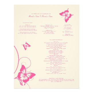 Programa del boda de la mariposa de las rosas fuer membrete