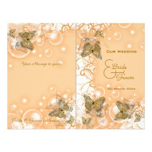 Programa del boda de la mariposa del oro del meloc tarjetón