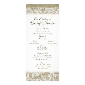 """Programa del boda de la mirada del cordón y de la invitación 4"""" x 9.25"""""""
