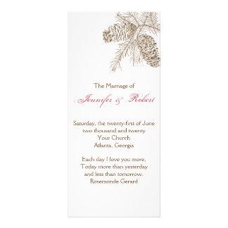 Programa del boda de la naturaleza del cono del pi tarjetas publicitarias