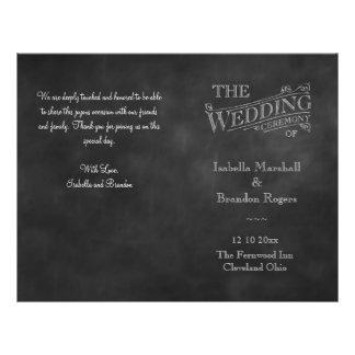 Programa del boda de la pizarra tarjetones