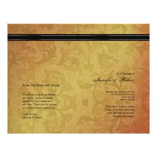 Programa del boda de la regencia de la caída flyer a todo color