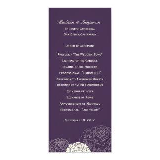 """Programa del boda de la rosaleda - púrpura invitación 4"""" x 9.25"""""""