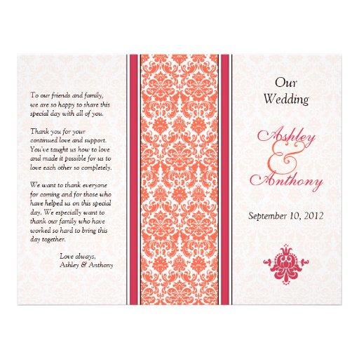 """Programa del boda de la sandía y del damasco del folleto 8.5"""" x 11"""""""