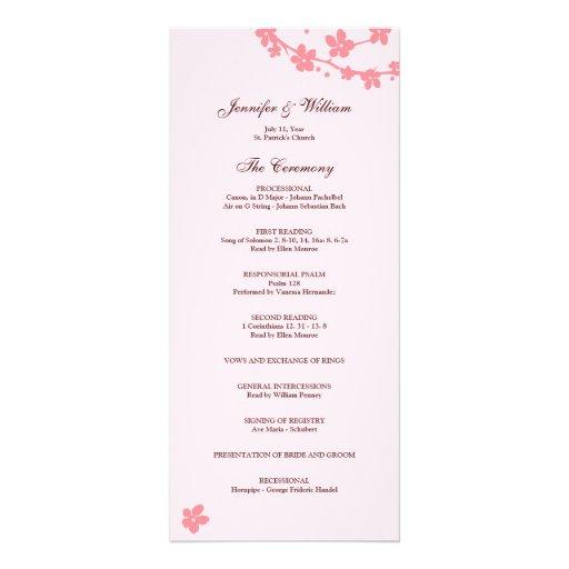 Programa del boda de la silueta de la rama de Saku Lonas Personalizadas