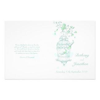 Programa del boda de la verde menta de los pájaros tarjetas informativas