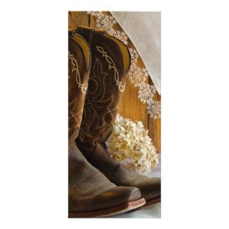 Programa del boda de las botas y del cordón del lona publicitaria