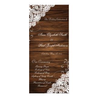 Programa del boda de madera y del cordón del plantilla de lona