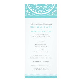 """Programa del boda de Papel Picado - azul Invitación 4"""" X 9.25"""""""