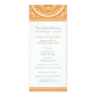 """Programa del boda de Papel Picado - naranja Invitación 4"""" X 9.25"""""""