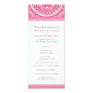 """Programa del boda de Papel Picado - rosa Invitación 4"""" X 9.25"""""""