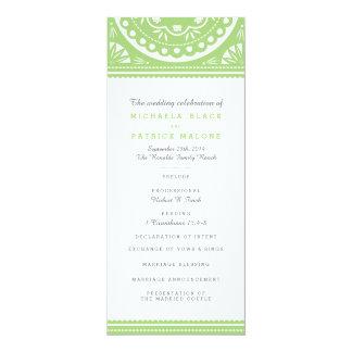 Programa del boda de Papel Picado - verde Invitación 10,1 X 23,5 Cm