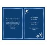 Programa del boda de playa de las estrellas de mar tarjetones