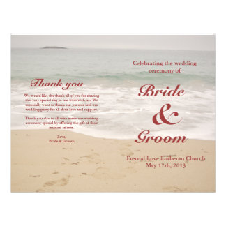 "Programa del boda de playa:  Playa de Sandy Folleto 8.5"" X 11"""
